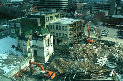 Demolition of Historic John Forsyth Shirt Factory by grading and excavation company Cambridge